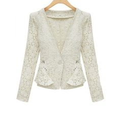 White Lace Peplum Jacket