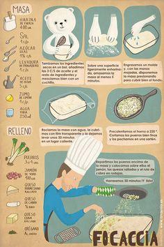 Pan y Peter: Focaccia Pan Bread, Bread Baking, Bread Recipes, Cooking Recipes, Salty Foods, Food Illustrations, Empanadas, Cooking Time, Italian Recipes