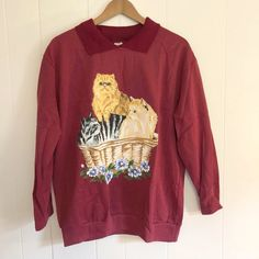9441a31eb Super adorable kitty cuteness 🐱🐱🐱 maroon vintage grandma - Depop Cat  Sweaters, Morning