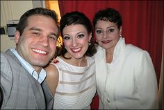 Backstage at the Marriott's World Premiere of Andrew Lloyd Webber Revue Now and Forever - Matthew Blankk, Melissa Zaremba, and Linda Balgord at places for the top of show.