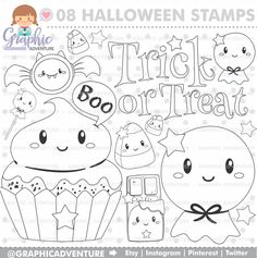 Halloween Stamps Ghost Digi Stamp Digital Coloring Page COMMERCIAL USE Digistamp Line Art