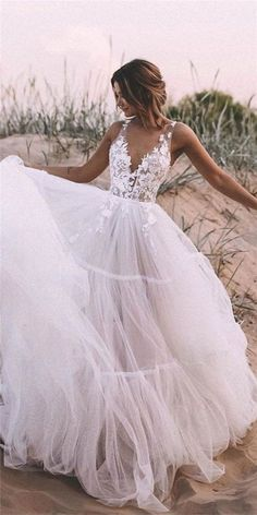 #weddingdresses #laceweddingdresses #weddingdresses #beachweddingdresses  LBQW0169 features high quality tulle but the price is very nice. A line is very friendly to your curve, which is suitable for everyone. V neck, sleeveless and zipper are very elegant. Appliques can let you be more chic and charming. Shop at AlinePromDress! You deserve it. Simple Sexy Wedding Dresses, Bohemian Wedding Dresses, Best Wedding Dresses, Elegant Dresses, Formal Dresses, Pretty Dresses, Casual Dresses, Awesome Dresses, Wedding Dresses With Color