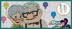 UP Pixar movie pattern by Aldray Ferreira Cross Stitch Music, Cross Stitch Bookmarks, Cross Stitch Love, Cross Stitch Charts, Cross Stitching, Cross Stitch Embroidery, Carl Y Ellie, Up Pixar, Cross Stitch Alphabet Patterns