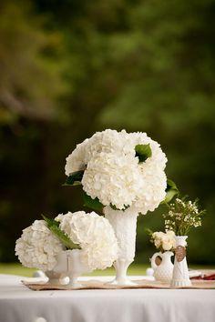 Vintage Wedding Table Setting Milk Glass Wedding Centerpiece Vase Compote. $15.00, via Etsy.