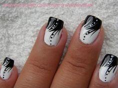 seahawks nail art | Nail Art Gallery – Black and White nail art