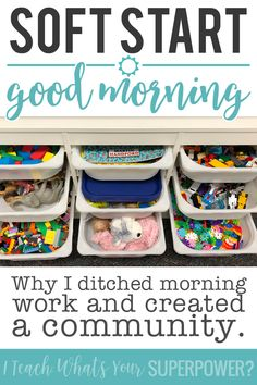 Why I got rid of morning work and switched to soft start instead. Use morning tubs to start your day by building creativity and community. Beginning Of Kindergarten, Kindergarten Rocks, Beginning Of The School Year, New School Year, Kindergarten Morning Work, First Grade Classroom, New Classroom, Classroom Ideas, World History Teaching