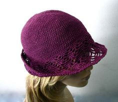 crochet cloche hat pattern free | Purple Crochet Cloche/Bucket Hat - Brim in Lace Pattern -... | review ...