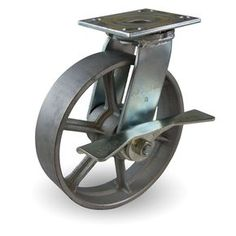 "8"" x 2"" Cast Iron Wheel with Spokes Industrial Swivel Caster with Brake"