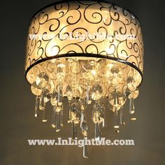 Crystal Ceiling 4-light black lamp