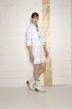 #danieladallavalle #collection #ss16 #elisacavaletti #jacket #dress #necklace #ankleboots #boots #beige #white #stripes #gold #leather