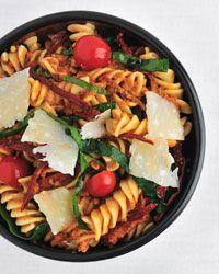 Fusilli with Spinach and Sun-Dried-Tomato Pesto // More Vegetarian Pastas: http://www.foodandwine.com/slideshows/vegetarian-pasta #foodandwine