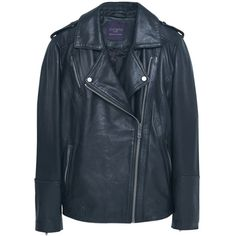 Violeta by Mango Leather Biker Jacket, Black (12.555 RUB) via Polyvore