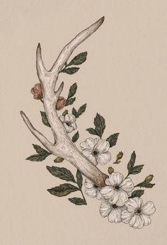 Floral Antler Art Print (near shoulder blade?)