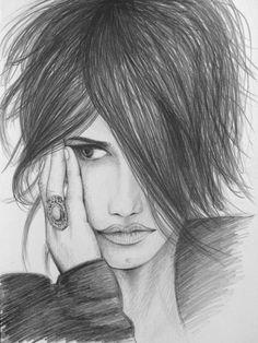 Bleistift-Zeichnung von Penelope Cruz