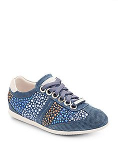 Alessandro Dell'Acqua Multicolor Crystal Suede Low-Top Sneakers/Blue