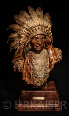 """""""Blackbull"""" Bronze sculpture. Native American Sioux Indian. See website for more views at http://www.hrkaiserstudios.com."""