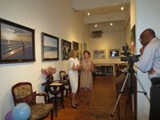 """Ms. Kristal Hart, Producer, """"Kristal Hart Show,"""" Noted Prime Time NYC TV Personality filming Amsterdam Whitney Gallery's notable artists at the """"La Dolce Vita ~ Printemps"""" Gala Champagne Reception and APRIL 5 - APRIL 30, 2013 Exhibition"""