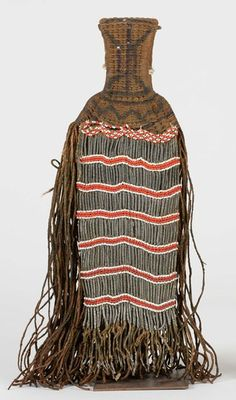 Africa | Cache sexe from the Kirdi people of northern Cameroon | Natural fibers, white metal beads and glass beads