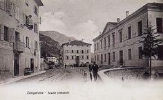 Le scuole elementari di Longarone (cartolina di Pompeo Breveglieri, del 1910)
