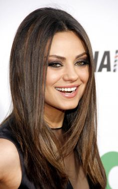 Color reference. I like how it's cool and dark at the top and then warms up near her roots.    Mila Kunis Hair