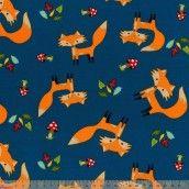 Little Darling - Woodland Wonderland - Foxes On Teal