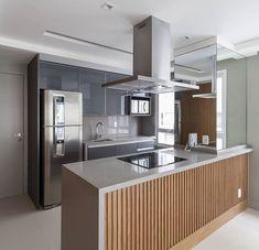 Apartamento jardins projeto by WVS fotos Moduler Kitchen, Kitchen Sets, Home Decor Kitchen, Room Partition Designs, Modern Architecture House, Interior Design Living Room, Design Interiors, Cool Kitchens, House Design