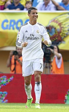 Cristiano Ronaldo of Real Madrid celebrates after scoring during the La Liga match between Villarreal CF and Real Madrid at El Madrigal on September 27, 2014 in Villarreal, Spain.