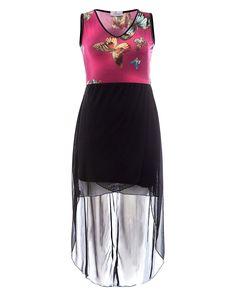 Praslin Kleid mit Schmetterlingen  Low High Dip Hem Dress Butterfly  Praslin Vokuhila Kleid mit Schmetterlingsprint