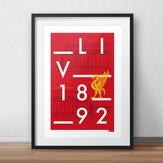 This is a stylish vector typographic line art print of the famous home of Liverpool, Anfield. Designed by Dan. Fit to grace any man cave, living room or children's bedroom. Styled with a contemporary modernist twist, featuring typography, a graphic of the stadium, and the famous red colours of Liverpool Football Club. You can purchase this artwork as a print directly from www.etsy.com/uk/shop/DesignedByDan