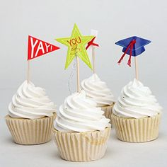 Elfun (TM) Graduation Cupcake Topper Sticks Liners Picks Party Supplies -24pcs/set >>> Check out this great image @ : baking decorations