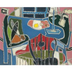 Patrick Heron, The Blue Table with Window: 1954