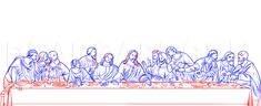 How To Draw The Last Supper, Step by Step, Drawing Guide, by Dawn How To Draw Santa, Jesus Painting, Drawing Reference, Drawing Guide, Religious Paintings, Beautiful Sketches, Tattoo Project, Online Drawing, Last Supper