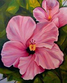 flower paintings | Tropical Flower Oil Paintings by Janis Stevens