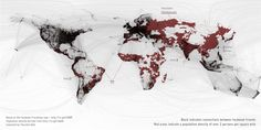 The Facebook graph overlaid with a population map.