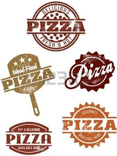 Sellos de Pizza estilo vintage photo