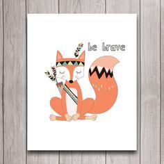 Be Brave Tribal Fox Nursery Wall Art Poster от INVITEDbyAudriana
