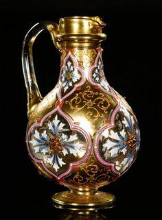 19th century, Bohemian glass jeweled pitcher