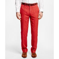c23ff57956 Brooks Brothers Fitzgerald Fit Linen Trousers ($84) ❤ liked on Polyvore  featuring men's fashion
