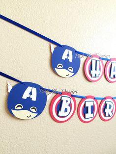 Free Shipping - Captain America birthday banner | Avenger banner | Superhero Party | Civil War theme | Captain America birthday pennant! by thepartyprojectshop on Etsy https://www.etsy.com/listing/398504869/free-shipping-captain-america-birthday