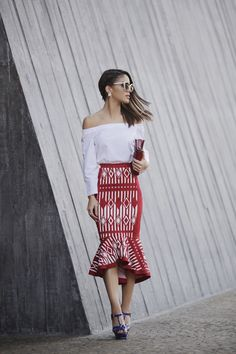 camila coelho summer geometric print skirt look