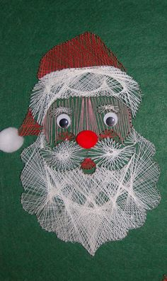 Vintage 1970s String Art Wall Hanging   Saint Nick by MaceSpace