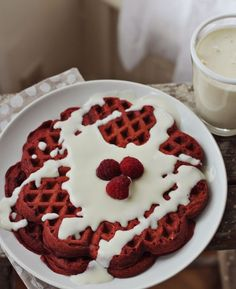 Red Velvet Waffles with Cream Cheese Syrup | 24 Very Important Next-Level Waffles