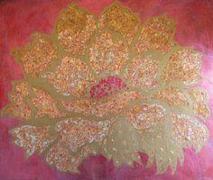 "HEART FLOWER -- Original Art, Acrylic, Gold Leaf, Metallic Foil, Mixed Media, Fuchsia Pink and Gold, Wall Art, 30"" x 36"""