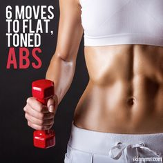 6 Moves to Flat, Toned Abs!  This 6-minute core workout is designed to give you fabulous abs. Get ready to take inches off your waistline!  #flatabs #abs #flatbelly