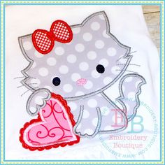 Valentine Kitty Personalized Applique Shirt by LittleSunshineGrace