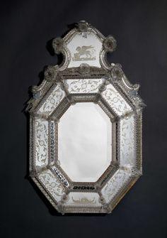 A Fine Antique Engraved Octagonal Venetian Mirror, Venetian, Circa 1880.