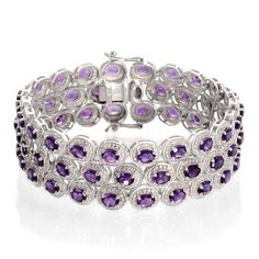 Rosamaria G Frangini | High Purple Jewellery | Channel Amethyst (Ovl), Diamond Bracelet in Platinum Overlay Sterling Silver Nickel Free