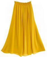 Chiffon Vintage Floor Length Skirt Yellow $48.00