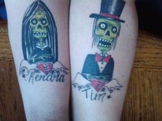 I got my very first tattoo. The wife and I both got his and her tats of a zombie bride and groom. Mine is on the left side of the pic below. First Tattoo, Get A Tattoo, Marriage Tattoos, Zombie Bride, Brides With Tattoos, Wedding Tattoos, Team Bride, Love And Marriage, I Got This