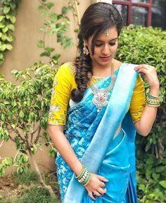 ideas for indian bridal dress royals color combos Pattu Saree Blouse Designs, Saree Blouse Patterns, Bridal Blouse Designs, Lehenga Designs, Saree Color Combinations, Saree Wearing Styles, Wedding Silk Saree, Saree Trends, Blue Saree